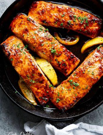 Honey Garlic Salmon in a pan.