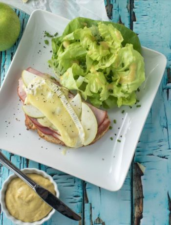 Ham, Brie, and Apple Open Face Toast