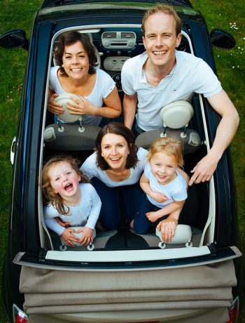 Family of five in a car