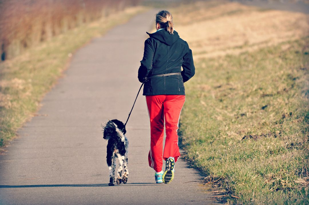 Woman running with a dog.