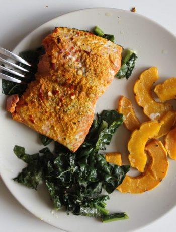 Sheet Pan Turmeric Salmon and Delicata Squash