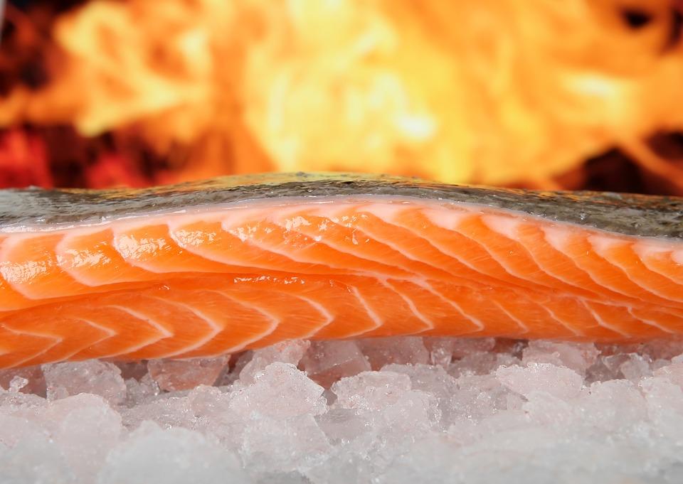 Fresh filet fish on ice.