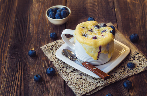 Homemade blueberry muffin mug cake