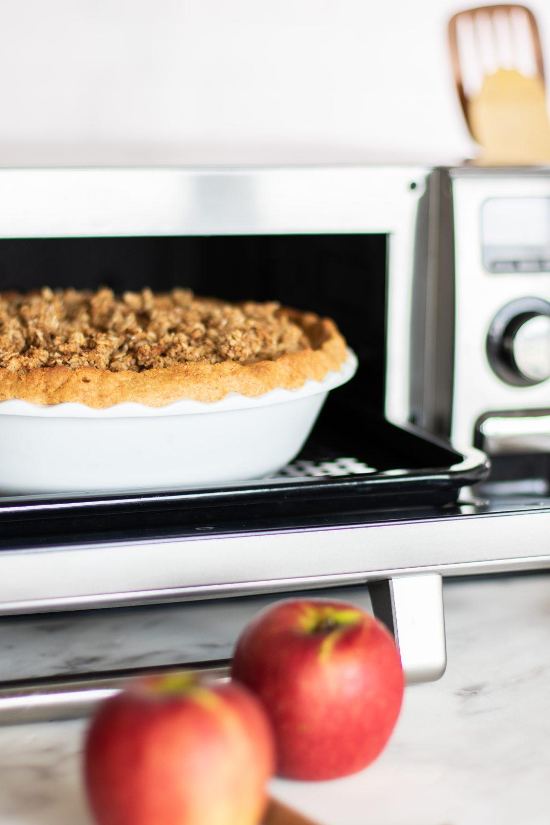 Pie being prepared in a Sharp Supersteam Countertop Oven.