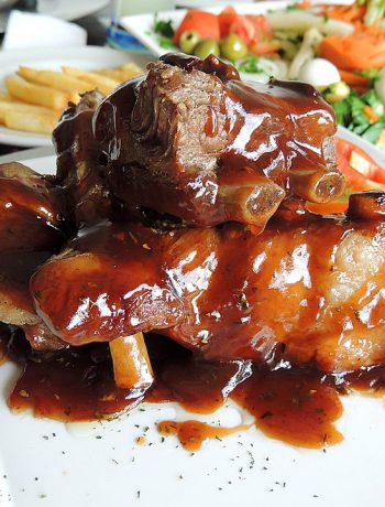 BBQ sauce recipes with french fries in the back.