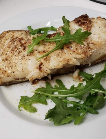 Chilean Sea Bass on a plate.