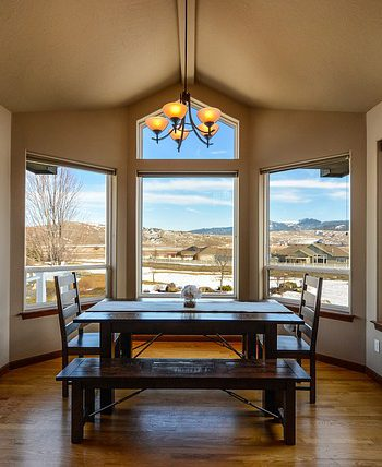 Dining room table overlooking the mountain.