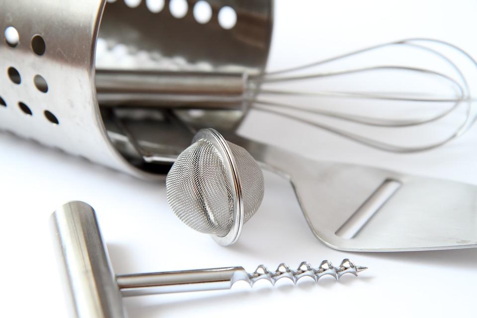 Kithchen utensils layed down.