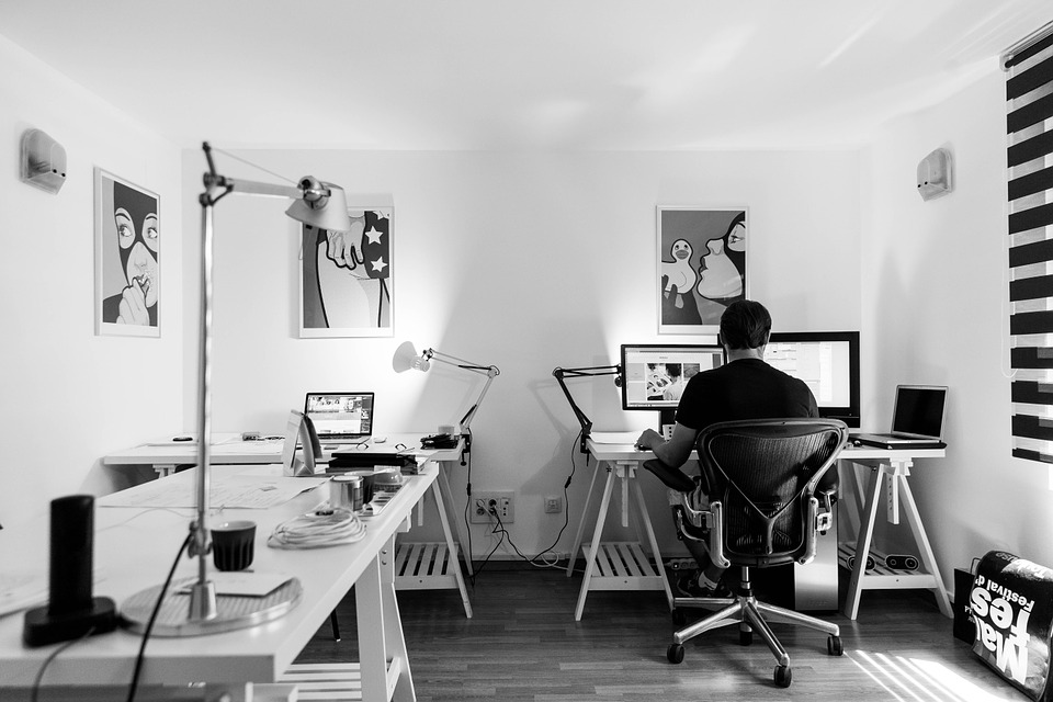 Man working at a home office.