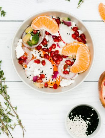 Meatless bowls with an array of fruits.