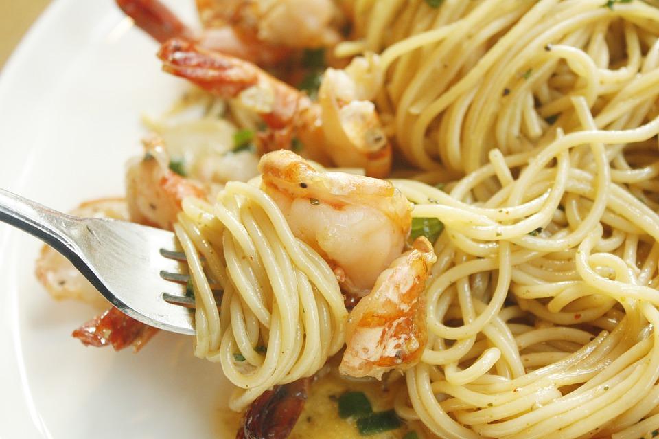 Shrimp Scampi in a bowl.