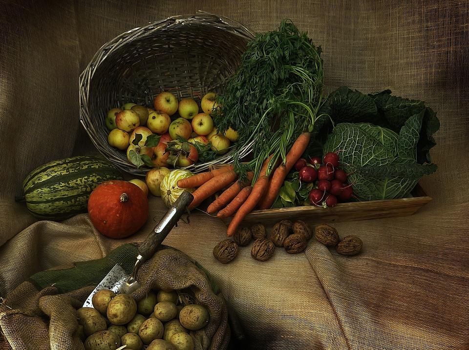 An array of vegetables spread apart on a cloth.