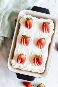 Gluten Free/Non-Dairy Tres Leches Cake in a pan.