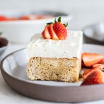 Gluten Free/Non-Dairy Tres Leches Cake on a plate.