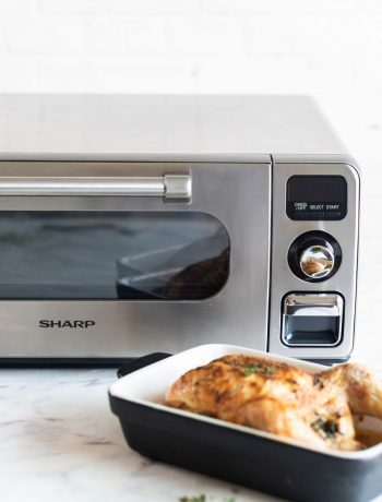 Turkey in front of Sharp Supersteam Countertop Oven.