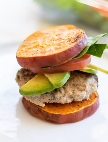 Sweet potato burger with tomatoe.