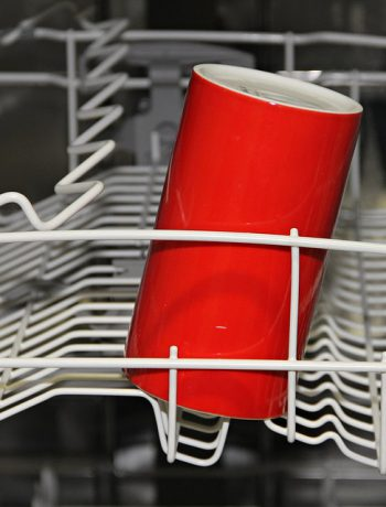 Red cup in a dishwasher.