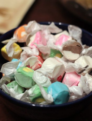 Homemade taffy in a bowl.