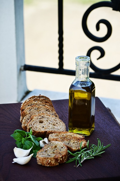 Mediterranean Olive Bread on an outdoor surface.
