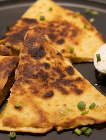 Buffalo chicken quesadilla and sauce.