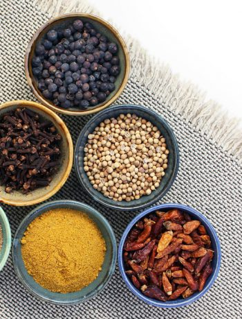 Seasonings and spices in bowls.