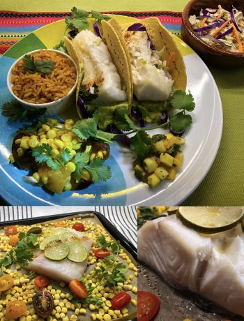 Fish Tacos with Roasted Corn and Cherry Tomatoes with Spanish Rice and Mango Salsa being prepared.