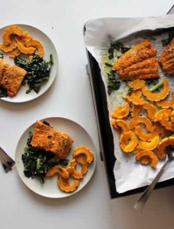 Turmeric Salmon and Delcatta Squash coming out of a Sharp Supersteam Countertop Oven.