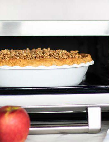 Gluten Free Apple Pie being prepared in a Sharp Supersteam Countertop Oven.