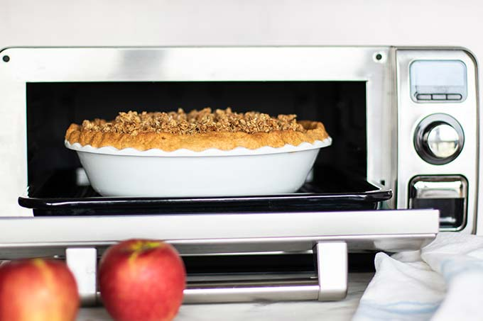 Gluten Free Apple Pie being prepared in a Sharp Supersteam Countertop Oven.