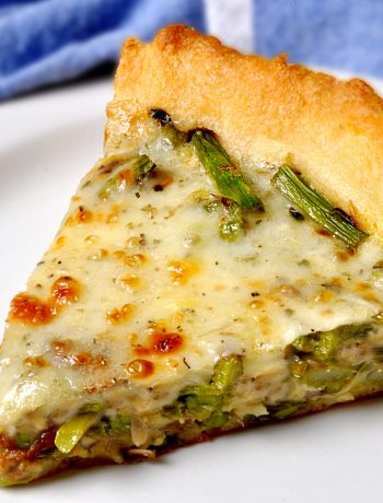 Asparagus Mushroom Quiche on a white plate.
