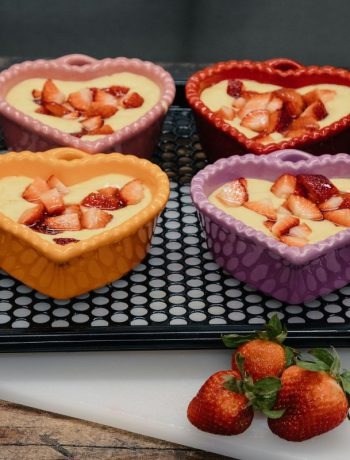 Heart shaped strawberru short cakes being prepare to enter a Sharp Supersteam Countertop Oven.