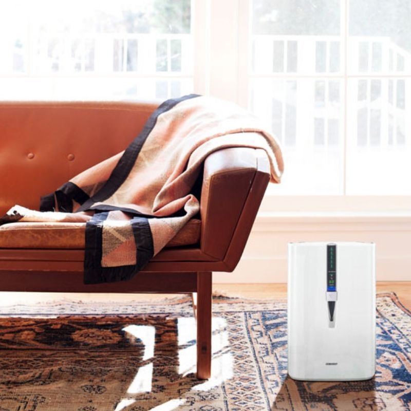 Air purifier on a rug in a living room next to a sofa.
