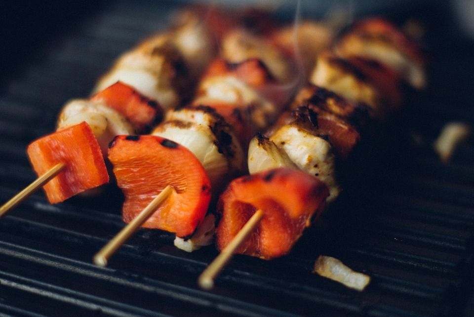 Veggie Kabobs on a grille.