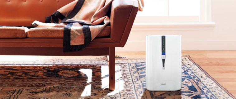 Air purifier on a rug in a living room next to a couch.