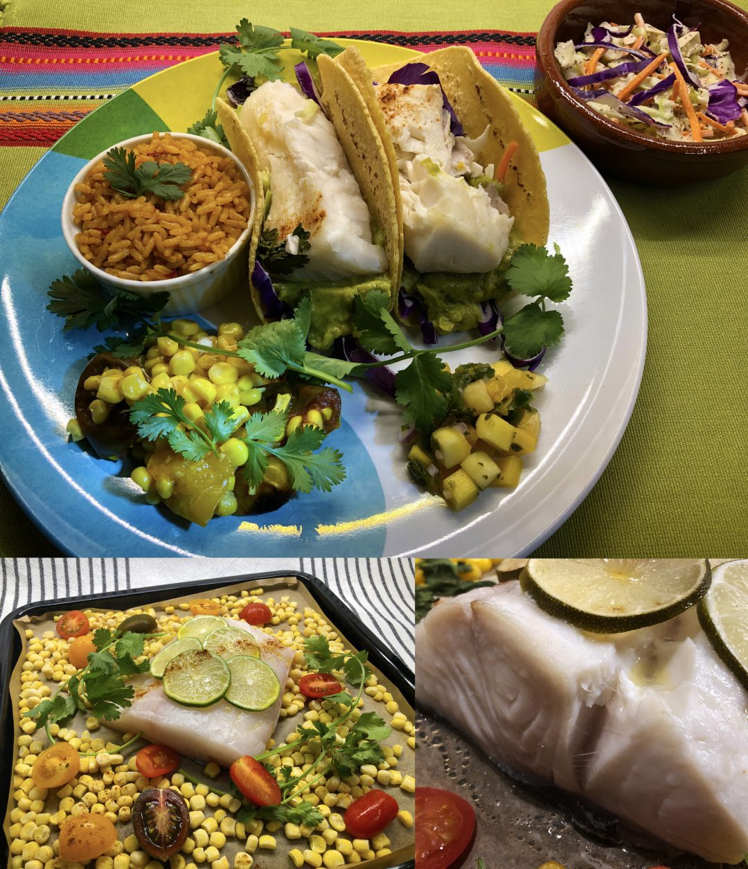 Fish tacos on a plate with sides.