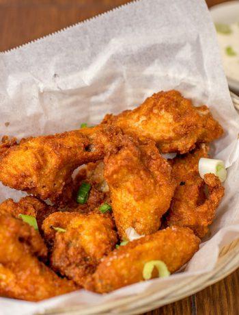 Fried chicken in a basket.
