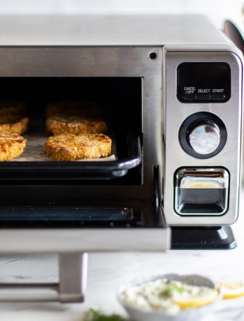 Snacks being prepared in a Sharp Supersteam Countertop Oven.