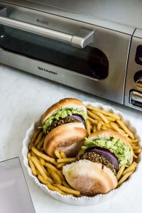 Sweet Potato Mushroom Guacamole Burger next to Steam Oven - Sharp USA Recipes