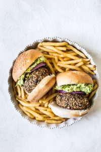 Sweet Potato Mushroom Guacamole Burger with Fries - Sharp USA Steam Oven Recipes
