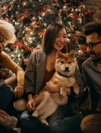 Loved ones in front of a Christmas tree with a puppy in hands.