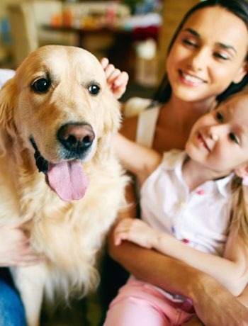 Family of three sitting down petting their golden dog.