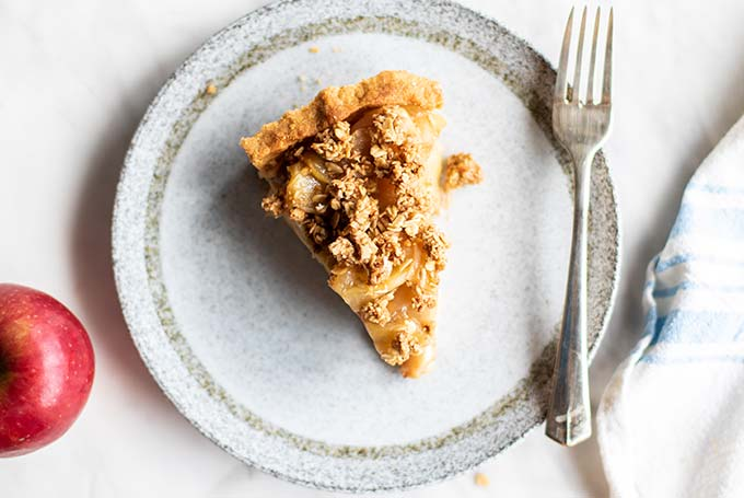 Apple pie being served.