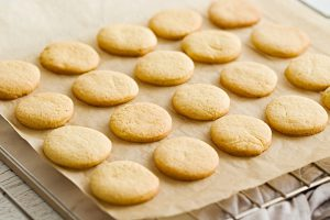 Gluten-Free Sugar Cookies on parchment paper