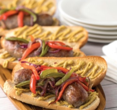 Grilled brats with peppers and onions