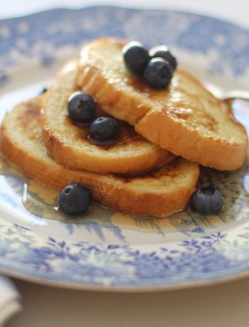 Brunch serving with blueberries.