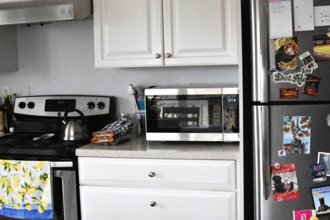 Sharp microwave on kitchen counter