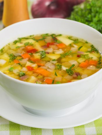 Simple, freezable soup in a bowl.