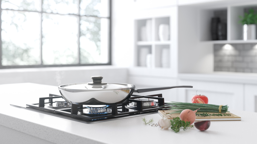 Skillet on a stove top
