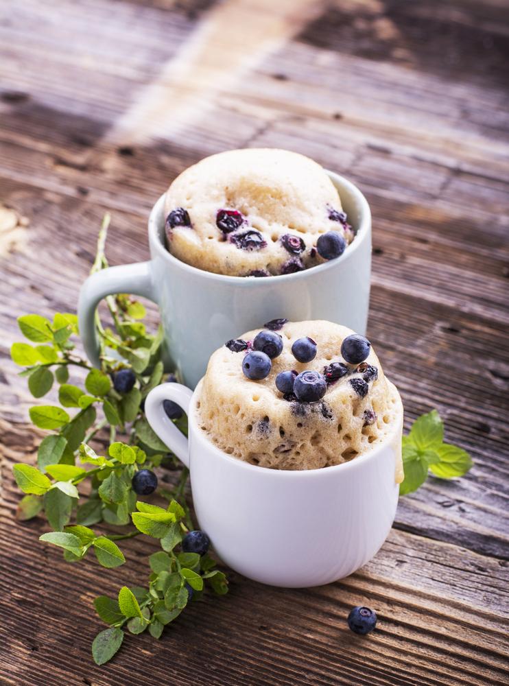 Breakfast mug cake with blueberries