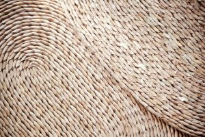 Jute placemats overlapping.